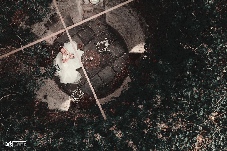 Hochzeitsfotografie mit Drohne im Schloss Rheder